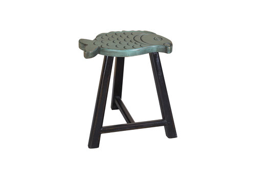 Fine Asianliving Fine Asianliving Chinese Stool Solid Wood Oriental Fish Design Green H49cm