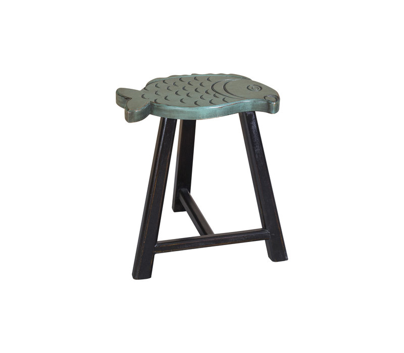 Chinese Stool Solid Wood Oriental Fish Design Green H49cm
