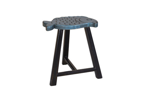 Fine Asianliving Chinese Stool Solid Wood Oriental Fish Design Blue H49cm