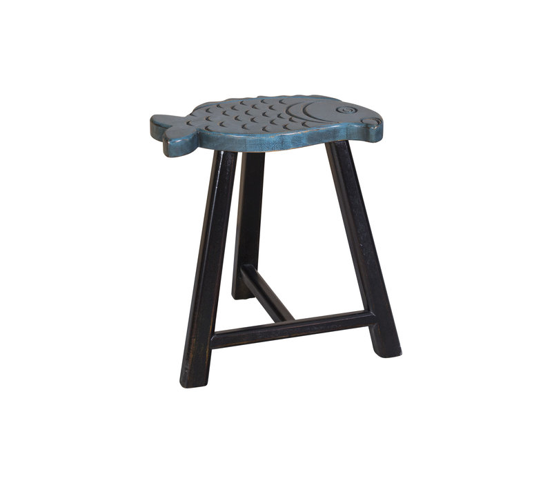 Chinese Stool Solid Wood Oriental Fish Design Blue H49cm