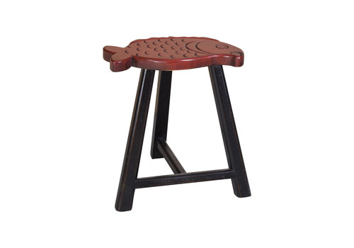 Fine Asianliving Chinese Stool Solid Wood Oriental Fish Design Red H49cm
