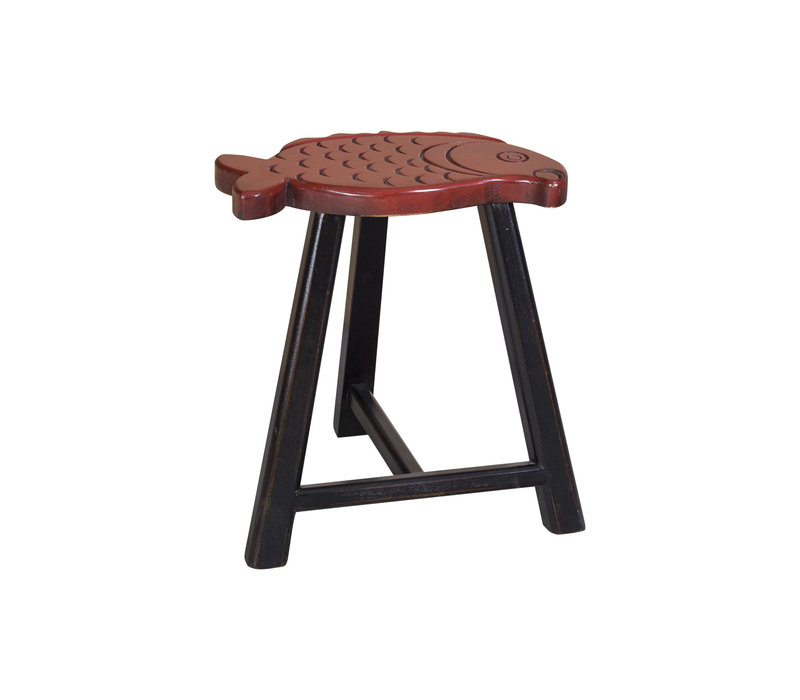Chinese Stool Solid Wood Oriental Fish Design Red H49cm