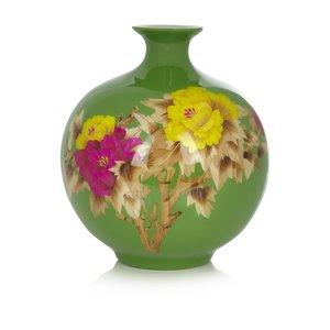 Fine Asianliving Chinesische Vase Porzellan Handgefertigt Pfingstrose Grün H29.5cm