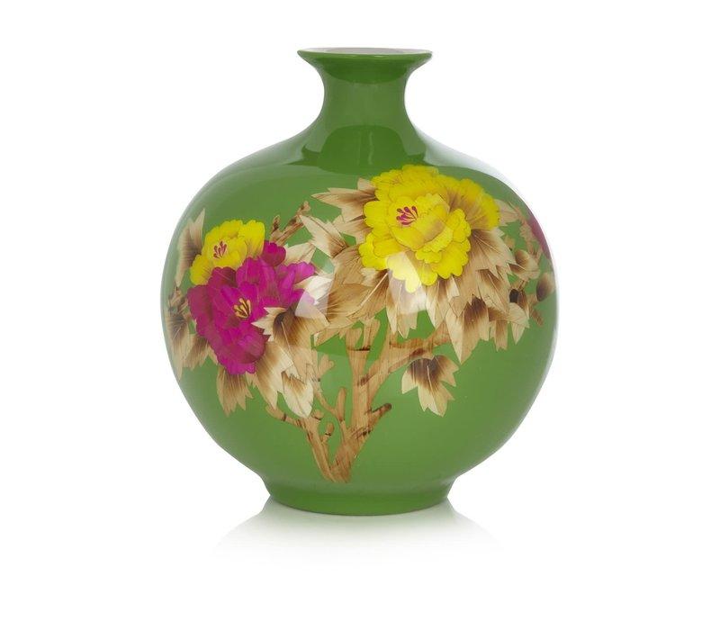 Chinesische Vase Porzellan Handgefertigt Pfingstrose Grün H29.5cm