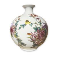 Chinesische Vase Porzellan Handgemacht Blumen und Vogels H29.5cm