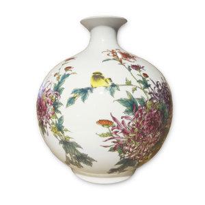 Fine Asianliving Chinese Vaas Porselein Handgeschilderd Vogels Bloemen H29.5cm
