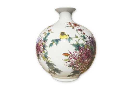 Fine Asianliving Chinese Porcelain Vase Hand-painted Birds Flowers H29.5cm