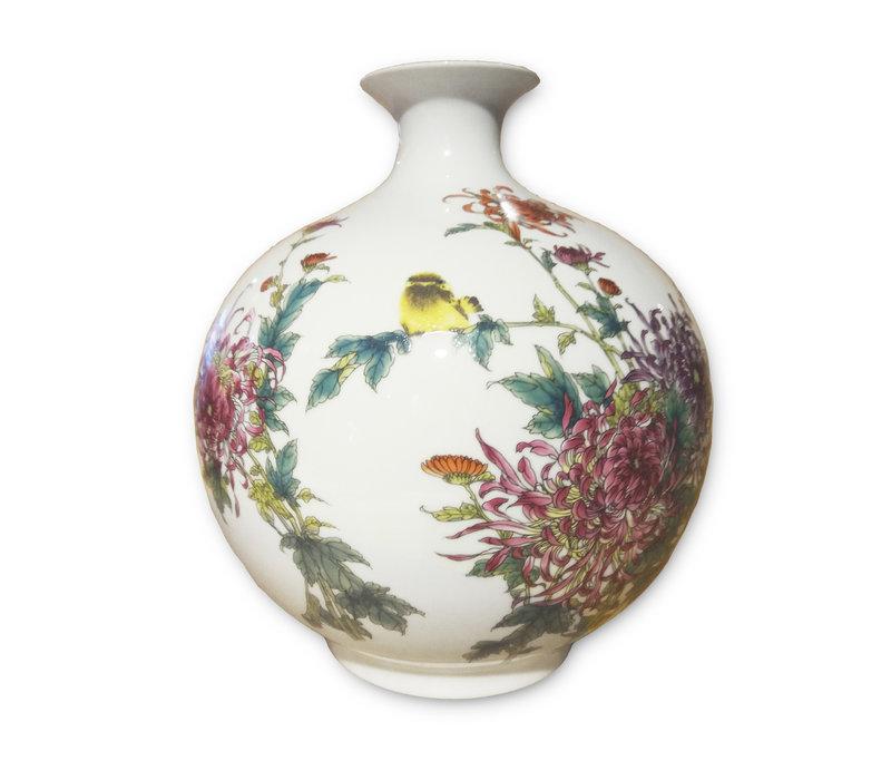 Jarrón de Porcelana Chino Aves y Flores Pintado a Mano de H29.5 cm