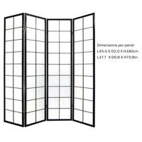 Japanse Kamerscherm B180xH180cm 4 Panelen Shoji Rijstpapier Zwart