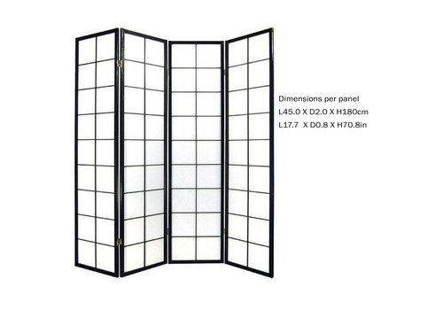 Fine Asianliving Fine Asianliving Japanese Room Divider L180xH180cm Privacy Screen Shoji Rice-paper 180/B4