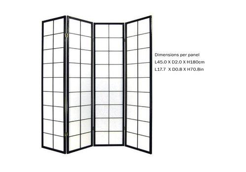 Fine Asianliving Fine Asianliving Japans Kamerscherm L180xH180cm Shoji Rijstpapier 4 Panelen Zwart - 180/B4