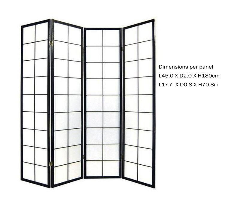 Biombo Japonés A180xA180cm 4 Paneles Shoji Papel de Arroz Negro Separador