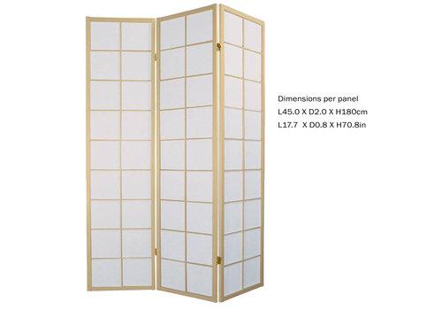 Fine Asianliving Biombo Separador Japonés Anch.135 x Alt.180 cm Shoji Papel de Arroz 3 Paneles - 180 / N3