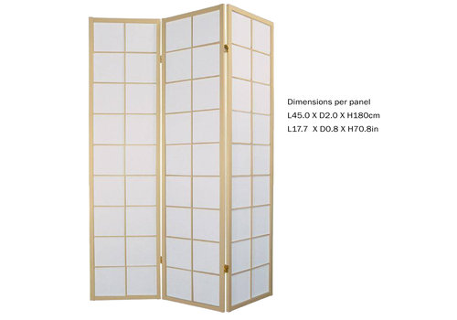 Fine Asianliving Japanese Room Divider L135xH180cm Privacy Screen Shoji Rice-paper 3 Panel - 180/N3