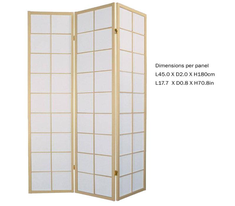 Japanese Room Divider L135xH180cm Privacy Screen Shoji Rice-paper 3 Panel - 180/N3