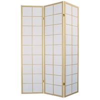 Japanse Kamerscherm B135xH180cm 3 Panelen Shoji Rijstpapier Naturel