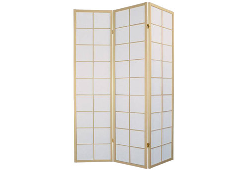Fine Asianliving Biombo Japonés A135xA180cm 3 Paneles Shoji Papel de Arroz Natural Separador