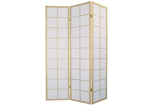 Fine Asianliving Biombo Separador Japonés A135xA180cm 3 Paneles Shoji Papel de Arroz Natural