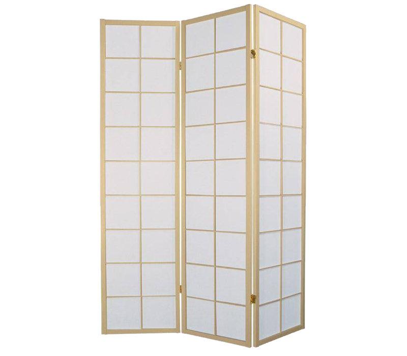 Japanischer Paravent Raumteiler Trennwand B135xH180cm 3-teilig Shoji Reispapier Naturell