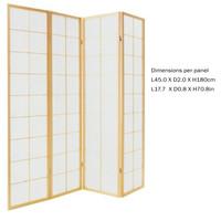 Fine Asianliving Japans Kamerscherm L180xH180cm Shoji Rijstpapier 4 Panelen - 180/N4