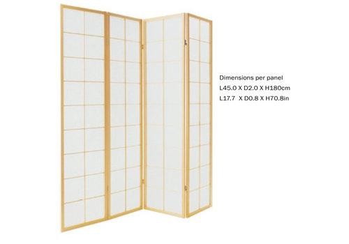 Fine Asianliving Fine Asianliving Paravent Japonais L180xH180cm Séparateur 4 Panneaux Cloison de Séparation Amovible Diviseur