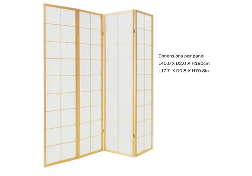 Fine Asianliving PREORDER 26/11/2020 Fine Asianliving Japanese Room Divider L180xH180cm Privacy Screen Shoji Rice-paper Natural 180/N4