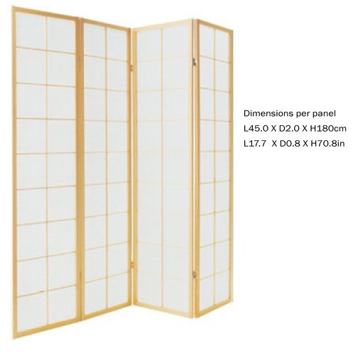 Japanese Room Divider Privacy Screen Rice-paper 4 Panel - 180/N4
