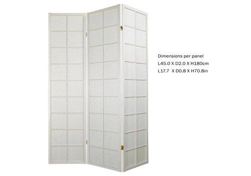 Fine Asianliving Japanischer Paravent Raumteiler Trennwand 3 teilig Shoji Reispapier - Weiß - B135xH180cm