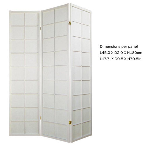 Fine Asianliving Japanese Room Divider L135xH180cm Privacy Screen Shoji Rice-paper 3 Panel - 180/W3