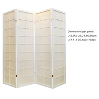 Japanese Room Divider 4 Panels W180xH180cm Privacy Screen Shoji Rice-paper White
