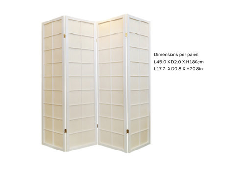 Fine Asianliving Paravent Japonais 4 panneaux L180xH180cm Shoji Papier de Riz Blanc 180 / L4