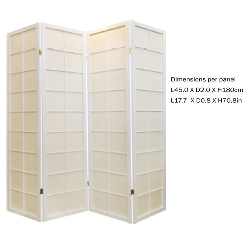 Japanese Room Divider Privacy Screen Rice-paper 4 Panel - White 180/W4