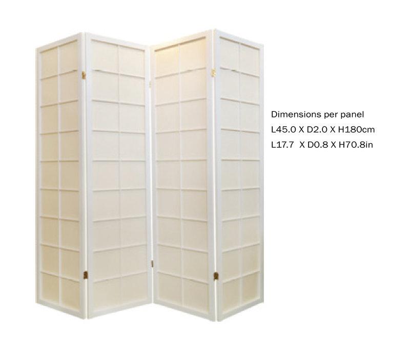 Japanischer Paravent Raumteiler Trennwand B180xH180cm 4-teilig Shoji Reispapier Weiß