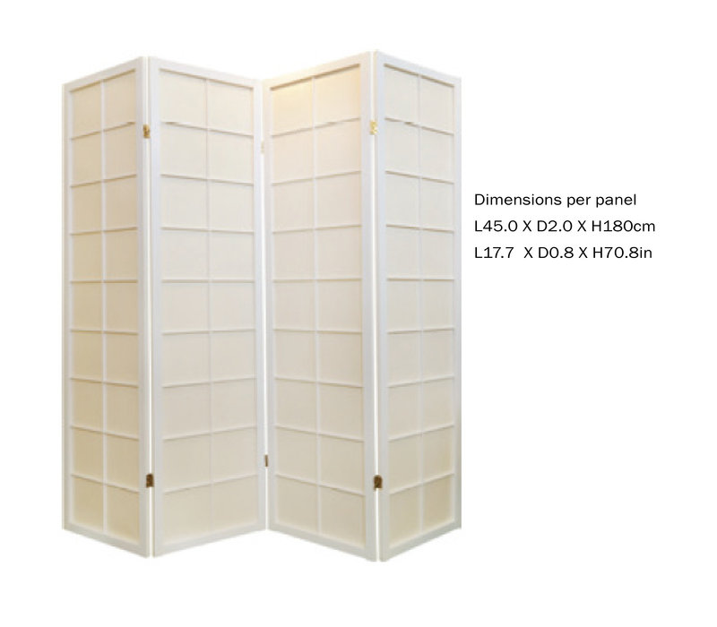 Paravent Japonais L180xH180cm 4 Panneaux Shoji Papier de Riz Blanc Blanc