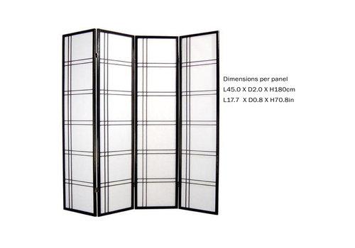 Fine Asianliving Fine Asianliving Japans Kamerscherm L180xH180cm Shoji Rijstpapier 4 Panelen - Double Cross Zwart