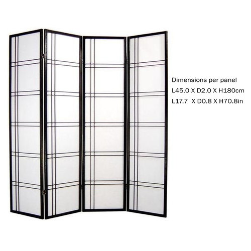 Japanese Room Divider Privacy Screen Rice-paper 4 Panel - Double Cross Black
