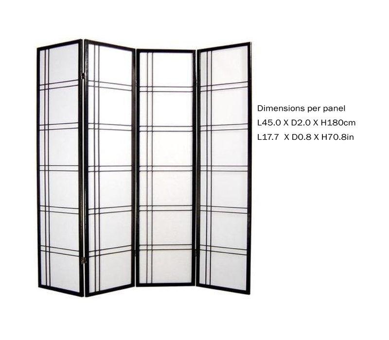 Fine Asianliving Japans Kamerscherm L180xH180cm Shoji Rijstpapier 4 Panelen - Double Cross Zwart