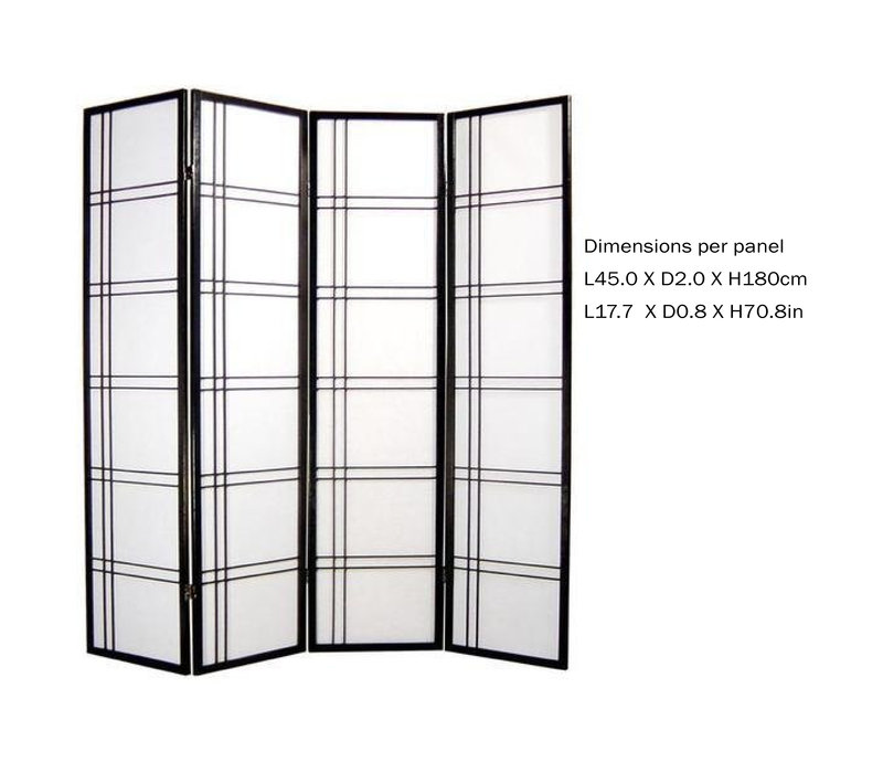 Japanese Room Divider L180xH180cm Privacy Screen Shoji Rice-paper - Double Cross Black