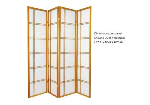 Fine Asianliving Fine Asianliving Japans Kamerscherm L180xH180cm Shoji Rijstpapier 4 Panelen - Double Cross Honey