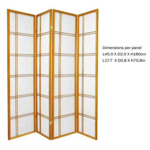 Japanese Room Divider Privacy Screen Rice-paper 4 Panel - Double Cross Honey