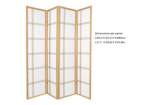 Fine Asianliving Fine Asianliving Japanese Room Divider L180xH180cm Privacy Screen Shoji Rice-paper - Double Cross Nat