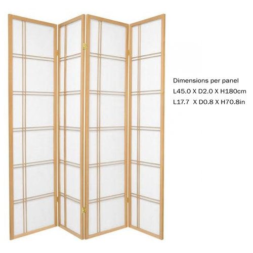 Japanese Room Divider Privacy Screen Rice-paper 4 Panel - Double Cross Natural