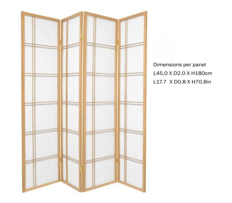 Fine Asianliving Japans Kamerscherm L180xH180cm Shoji Rijstpapier 4 Panelen - Double Cross Natural