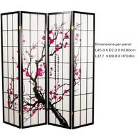 Japanse Kamerscherm B180xH180cm 4 Panelen Shoji Rijstpapier Zwart - Sakura