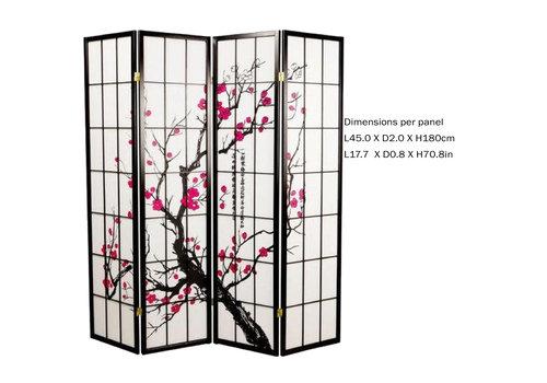 Fine Asianliving Fine Asianliving Japans Kamerscherm L180xH180cm Shoji Rijstpapier 4 Panelen - Sakura Zwart