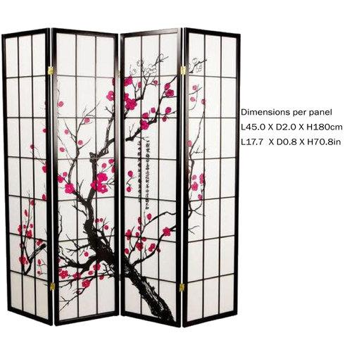 Japanese Room Divider Privacy Screen Rice-paper 4 Panel - Sakura Cherry Blossoms Black