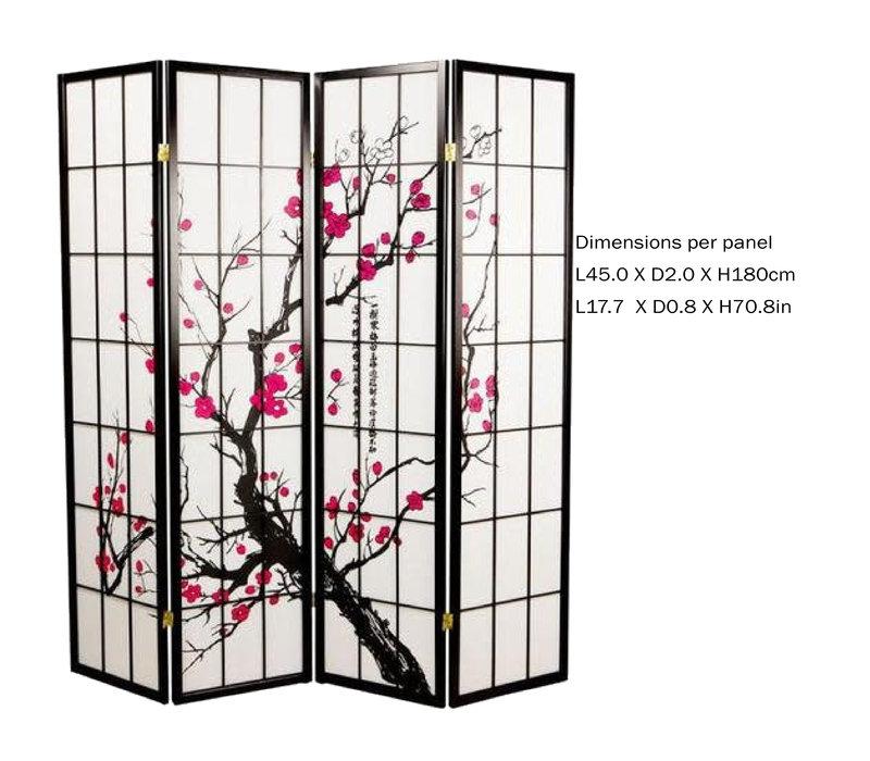 Fine Asianliving Japans Kamerscherm L180xH180cm Shoji Rijstpapier 4 Panelen - Sakura Zwart