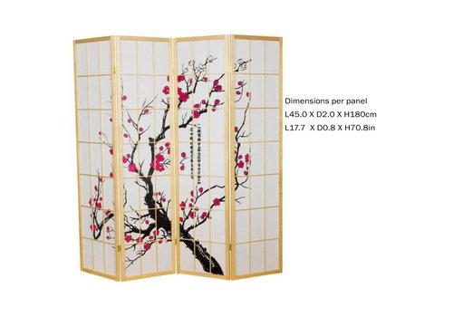 Fine Asianliving Fine Asianliving Japanischer Raumteiler L180xH180cm Paravent Shoji Sakura Reispapier