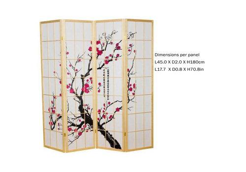 Fine Asianliving Paravent Japonais 4 panneaux L180xH180cm Shoji Papier de Riz - Cerisier en Fleurs