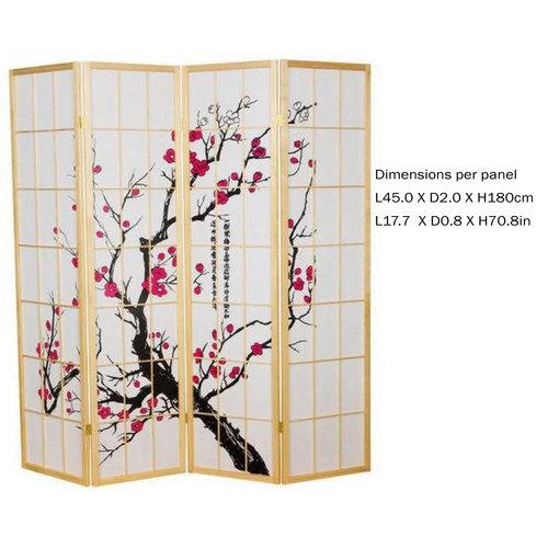 Japanese Room Divider Privacy Screen Rice-paper 4 Panel - Sakura Cherry Blossoms Natural
